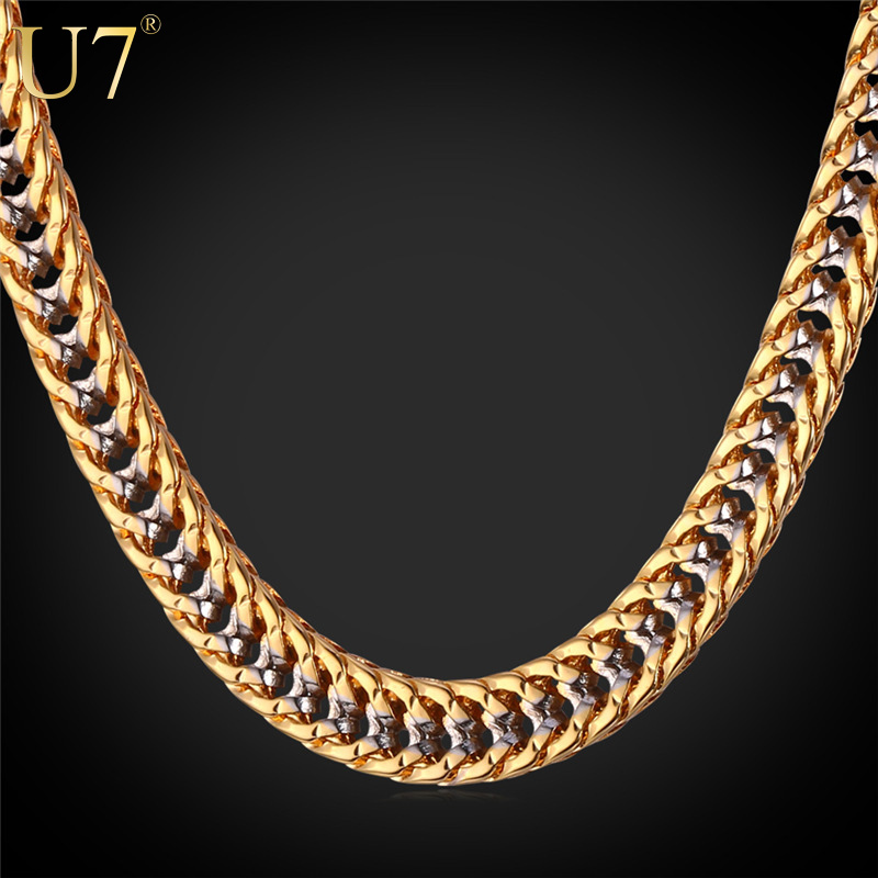 "U7 Two Tone Gold Chain For Men Jewelry With ""18K"" Stamp Gold Plated Fashion Jewelry Trendy 55 CM Franco Chain Men Necklace N437(China (Mainland))"
