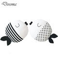 Simple Black And White Fish Pillow Kiss Fish Polka Dot Fish Cushion Doll to Appease Accompany