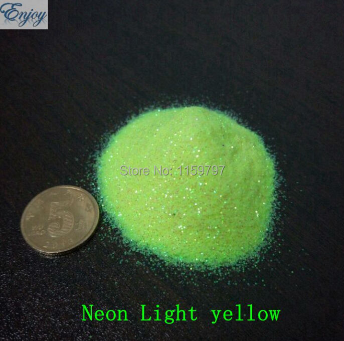 50g Light yellow Neon glitter for DIY nail art 1/128(0.2mm) Nail glitter dust for Crafts Make up Decoration(China (Mainland))
