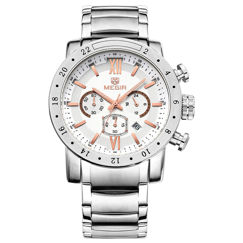 MEGIR Men Business Watch Military Auto Date Watches Stainless Steel Water Resistance Wristwatches(China (Mainland))