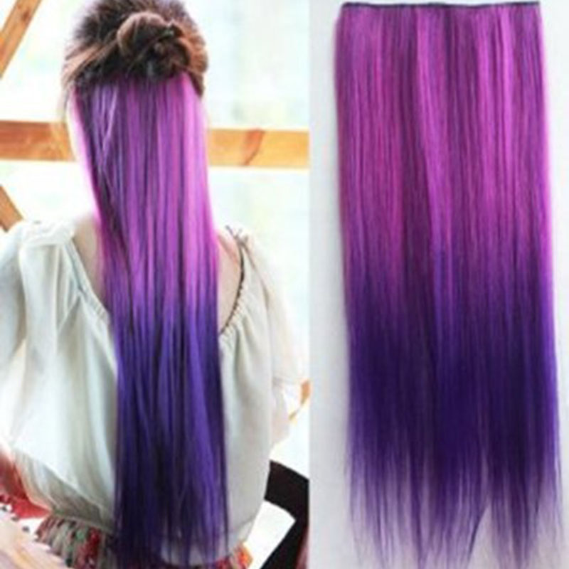 5 Chip Piece Harajuku Gradient Color Straight Hair Extensions Punk Hairstyle Colorful Highlights HB88