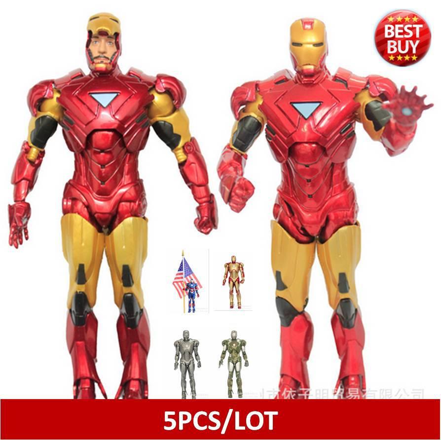 5pcs/lot  Marvel Iron Man 3 Action Figure Superhero Iron Man Tonny Mark PVC Figure Toy 20cm Chritmas Gift  brinquedos<br><br>Aliexpress