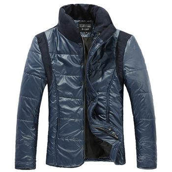 Free Shipping New Arrival Men's Clothing Stand Collar Man Casual Outerwear Fashion Cotton-Padded Down Jacket Coat