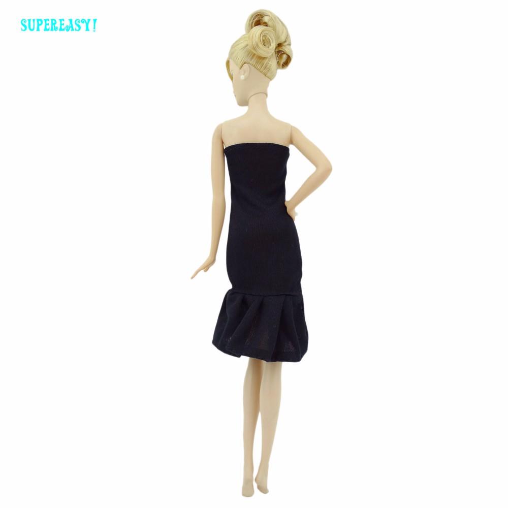 three Pcs =1 x Strapless Fishtail Costume Basic Black Wedding ceremony Celebration Robe + 2 x Copy Crystal Footwear Princess Garments For Barbie Doll