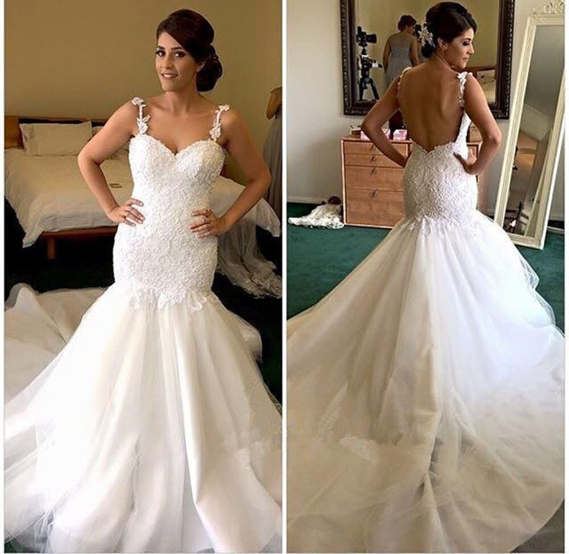 Online buy wholesale low back sweetheart mermaid wedding for Spaghetti strap wedding dress low back