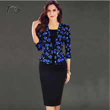 Buy T'O Elegant Retro Faux Twinset Blue Floral Print Peplum Slim Lady Dresses Work Office Party Bodycon Sheath Pencil Dress 163 for $17.90 in AliExpress store