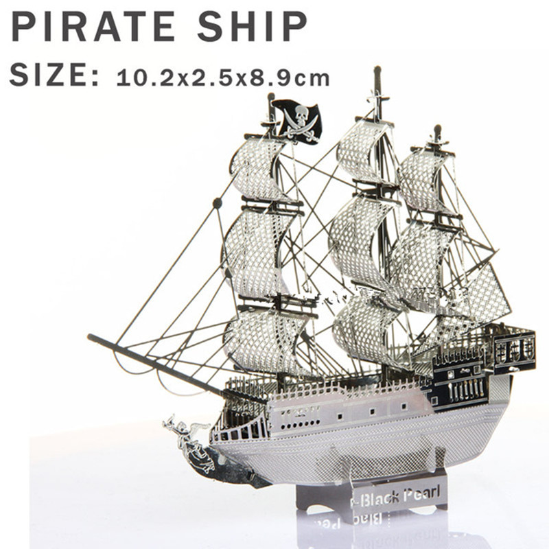 Real details New creative Pirates Caribbean 3D puzzles 3D metal model DIY Black Pearl No. Sailboat Jigsaws Children gifts toys(China (Mainland))