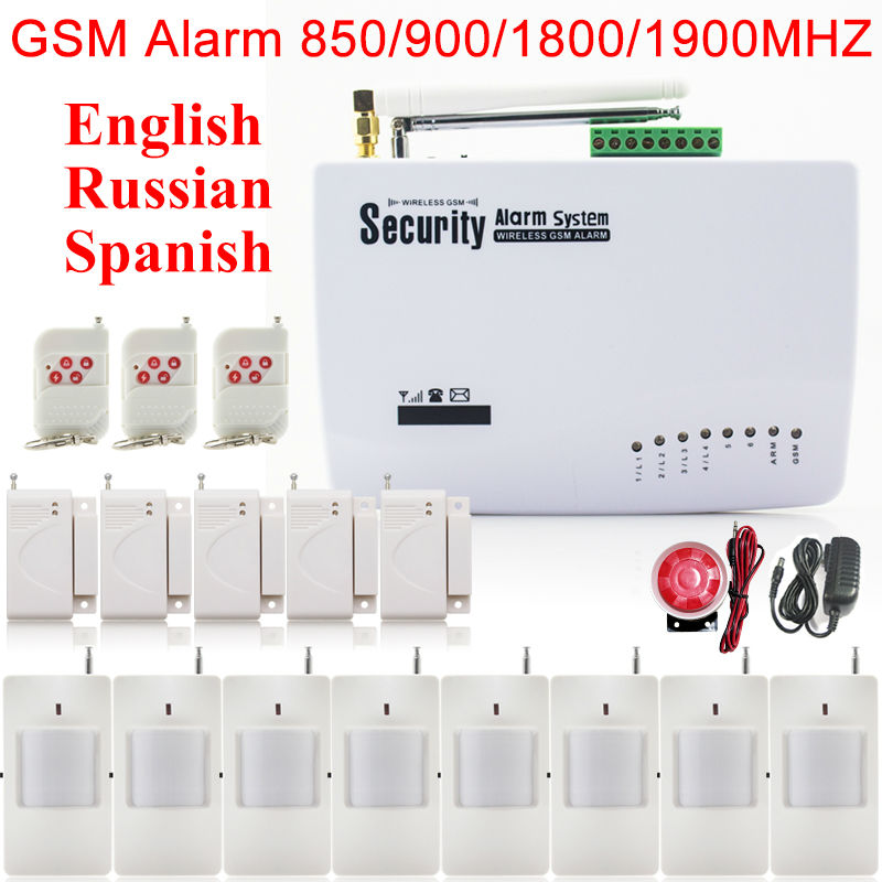 433 MHZ Wireless Audible Burglar Alarm System For Homes Company Auto Dialer Free Shipping with 6*Infrared Sensor(China (Mainland))