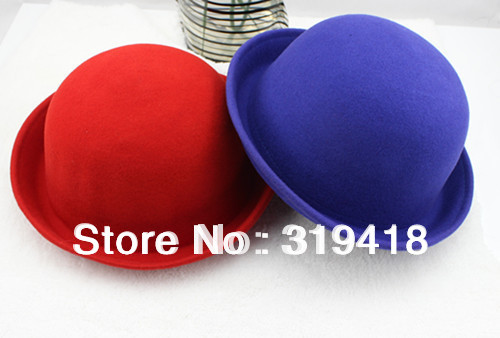 10PCS Lady women Solid RED/BLUE Hat New Fashion dome wool fedoras woolen roll up hem small round cashmere Berets jazz GIFT HOT(China (Mainland))