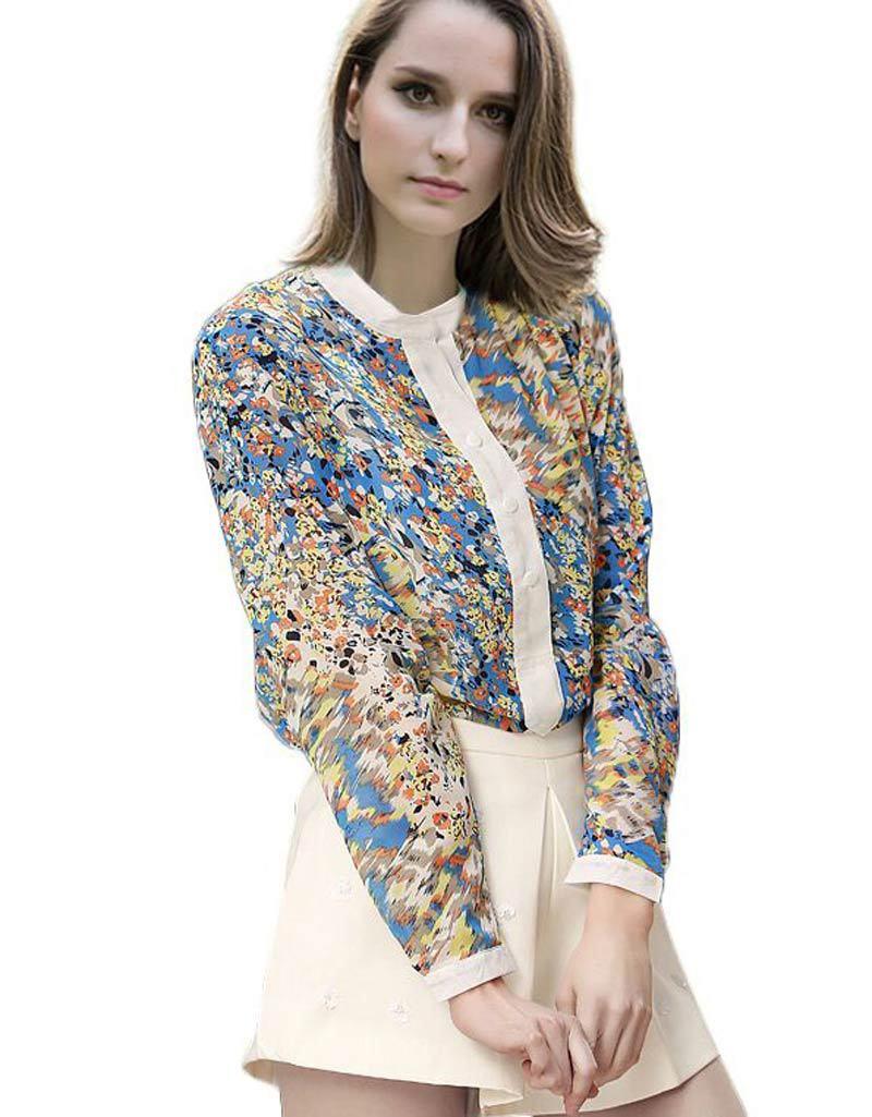 Plus Size Fashion Full Sleeve Mandarin Collar Flower Print Chiffon Women Shirts Blouses Blusa Feminina Summer Style Ropa Mujer(China (Mainland))