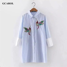 Women Oversized Sequined Embroidered Birds Blouse Cotton Blends 3/4 Sleeve High-end White&Blue Striped Long Shirt For 4 Season(China (Mainland))