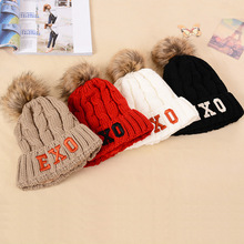Fashion hats for women knitting wool beanies in winter cap to Plus velvet keep warm for gorros bone caps Free shipping exo(China (Mainland))