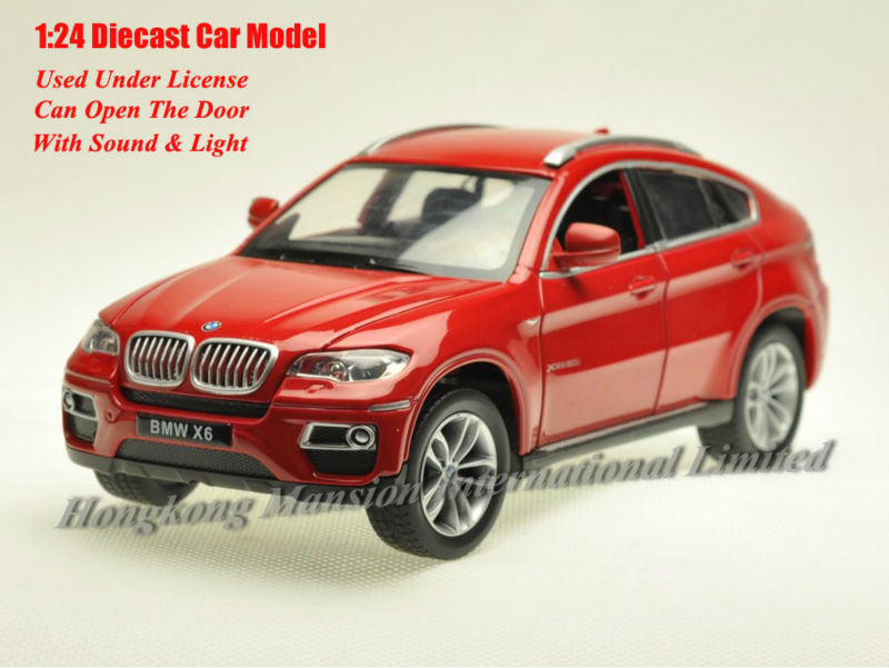 1:24 Scale Alloy Diecast Metal Car Model For TheBMW X6 Collection Class Model Toys Car With Sound&Light - Red / Blue(China (Mainland))
