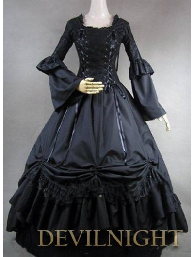 romantic black long sleeves gothic victorian ball gowns