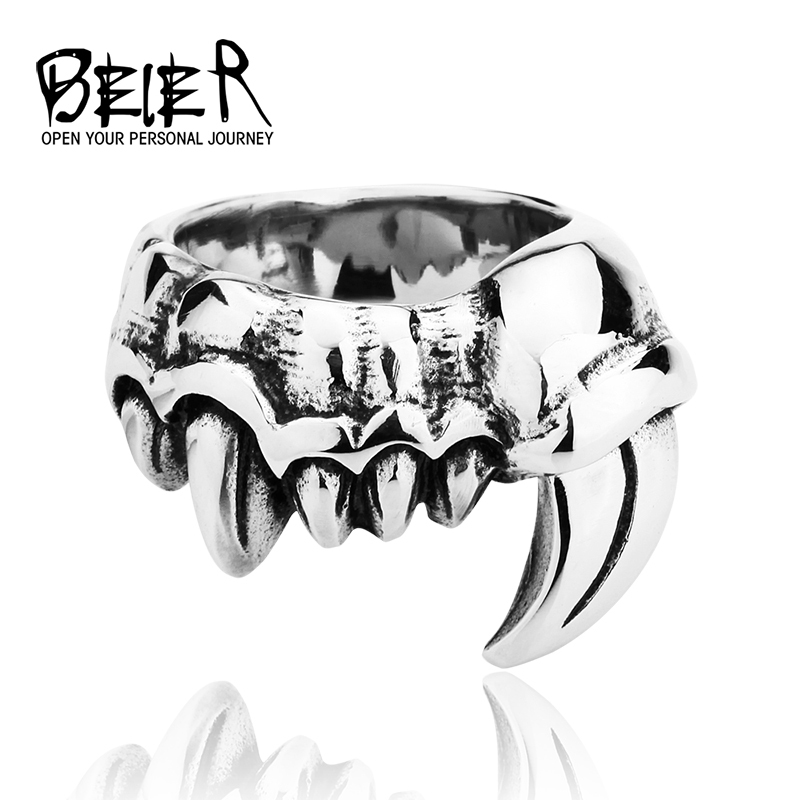 Titanium Steel Retro Exaggerated Tooth Ring Male Punk Evil Index Finger Demon Giant BR8028 US size(China (Mainland))