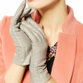 Women Gloves 2017 Thermal Soft Lined Winter Genuine Leather Glove Wrist Solid Fashion Dressing Lambskin Free