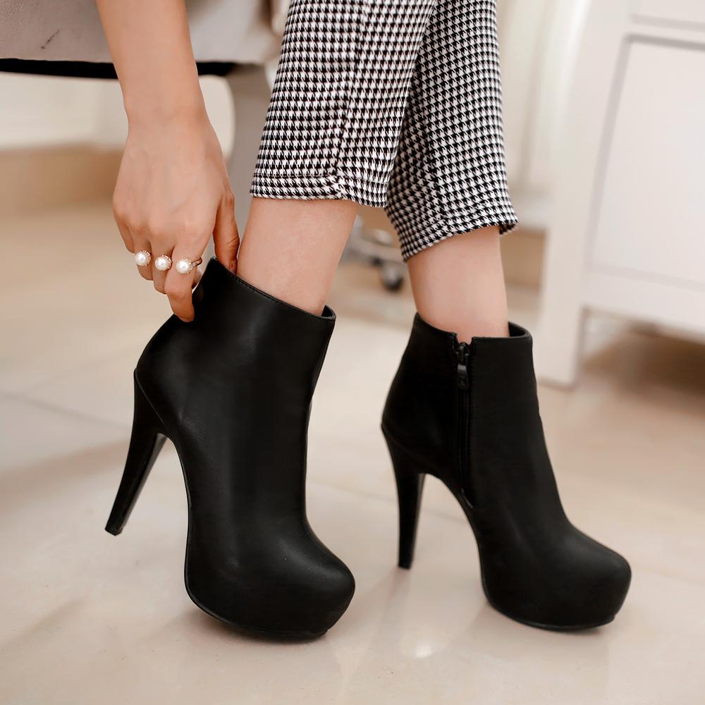size 34-45 2016 New Autumn Boots Spring Women Boots Artificial High Heel Platform zip Ankle Boots Girls Shoes