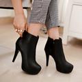 size 34 45 2016 New Autumn Boots Spring Women Boots Artificial High Heel Platform zip Ankle