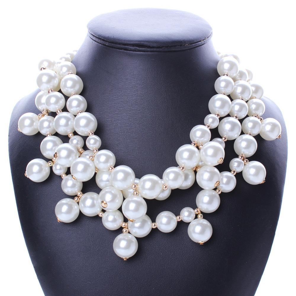 2015 New Collar Imitation Pearl Jewelry Necklace Women ...
