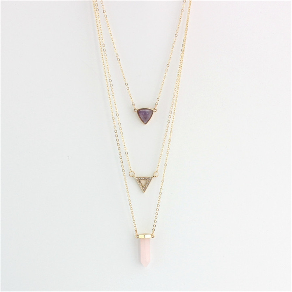 FreeshippingEurope America act the role ofing is tasted geometry amethyst/powder crystal pendant necklace Three layers necklace(China (Mainland))