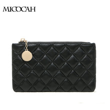 MICOCAH : Sheepskin Women Coin Purses 2016 Fashion Bag Brand New Plaid Genuine Leather Women Handbags With Zipper Famous Brand