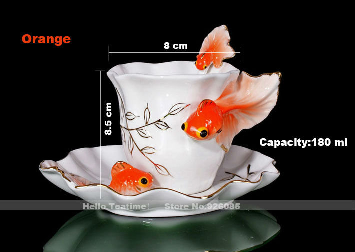 Fashion porcelain enamel goldfish porcelain coffee cup set,ceramic wedding gifts tea cups set,chinese milk mugs(China (Mainland))