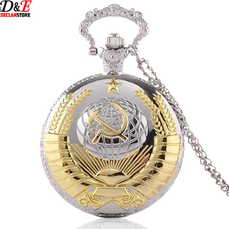 2015 New Soviet Sickle hammer Style Quartz Pocket Watch Men women Vintage Silver Pendant Gift wholesale