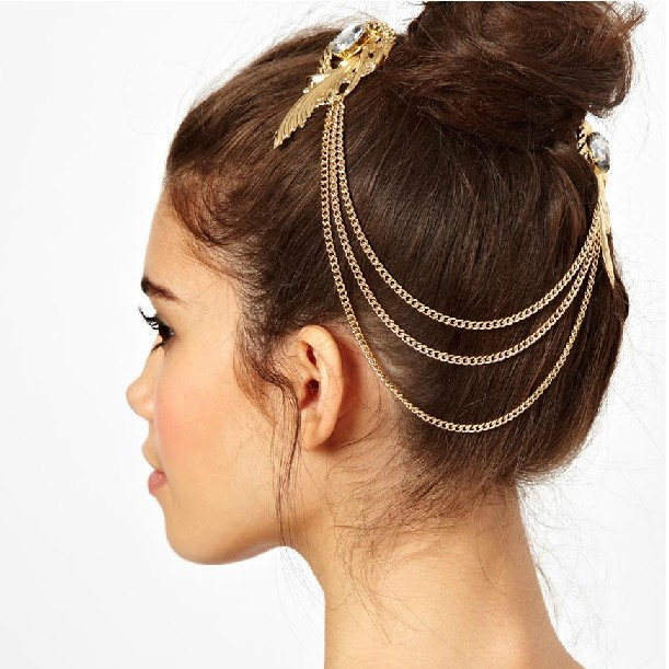 Fashion Gold Plated Crystal Feather Charms Hair Brooch Clip Pin Cuff Chain Head Band Hair Jewelry for Women Girls Christmas Gift(China (Mainland))
