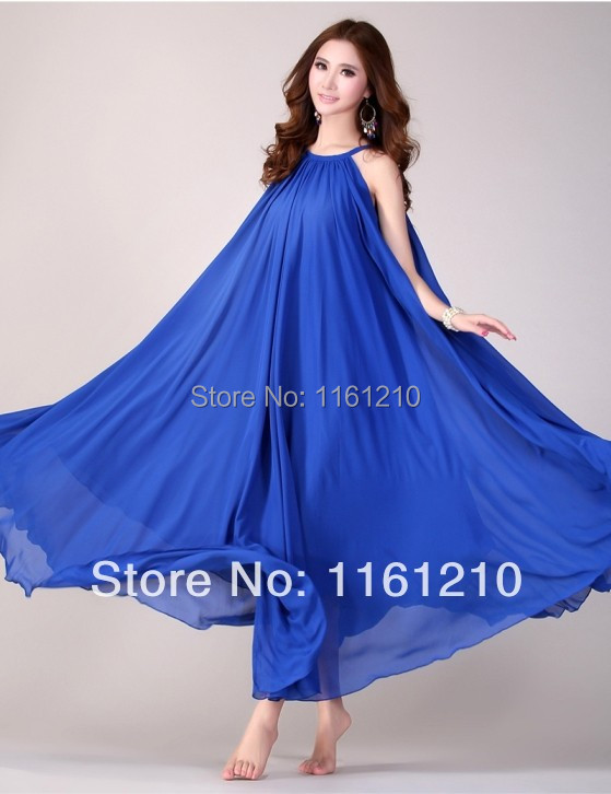 Royal blue summer bridesmaid dresses holiday beach maxi for Plus size maxi dresses for summer wedding