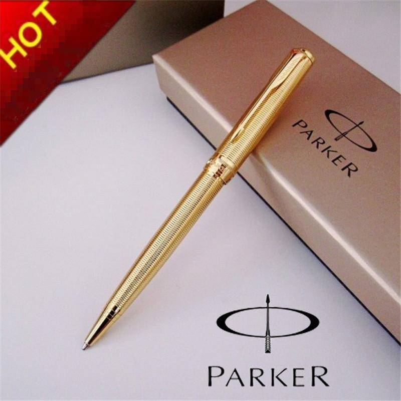 1pcs/lot Free Shipping Stationery Parker Pen Parker Sonnet Full Gold Pen Spiral Grain Ballpoint Caneta Office Supplie 13.8*1.3cm<br><br>Aliexpress