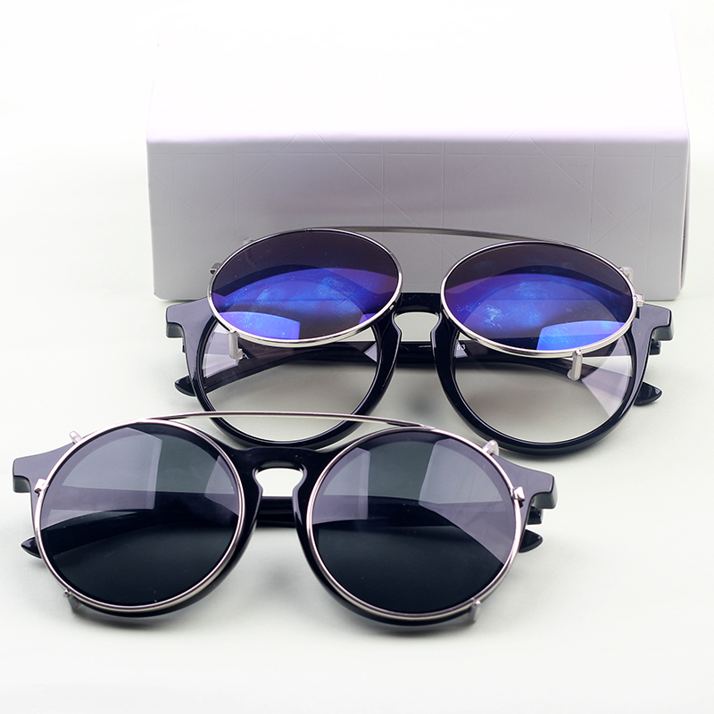 2015 New Vintage round plastic frame glasses plug removable metal frame UV coated lens sunglasses outdoor beach on foot(China (Mainland))