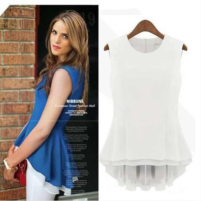 2014 Summer White/Blue layer Candy color Chiffon Blouses Black Tops women Emboriey Desigual Shirts ladies nz183 - GT-Watch Store store