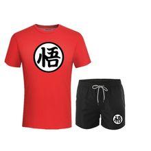 Летние комплекты высокого качества, футболка с драконом и мячом Z Goku Me + Брендовые мужские шорты, одежда, костюм из двух предметов, спортивный...(China)