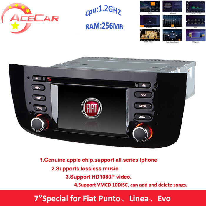"""Best 7"""" 2 din car dvd player with 1.2GHZ 256MB for Fiat Punto Linea Evo with 1080p video RDS GPSlossless music 10 vmcd function(China (Mainland))"""