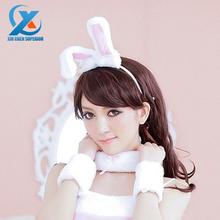 Rabbit Headbands Novelty Roleplay Adult Games Bunny Ears + Necklace + Wristring Pink Women headwear cn Lace sexy Headdress(China (Mainland))