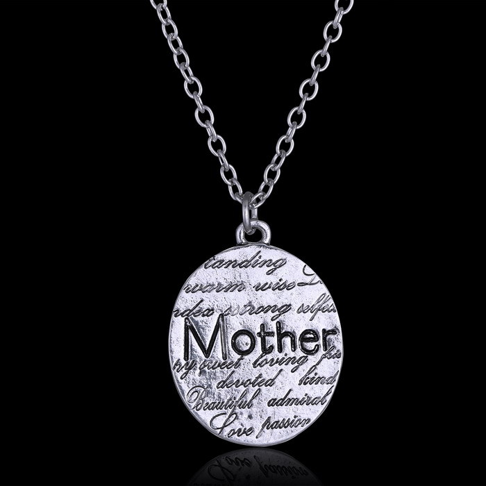 Fashion necklace for women 2015 vintage sliver jewelry hand stamped Mother pendant necklaces for Mother's Day Personalized Gift(China (Mainland))