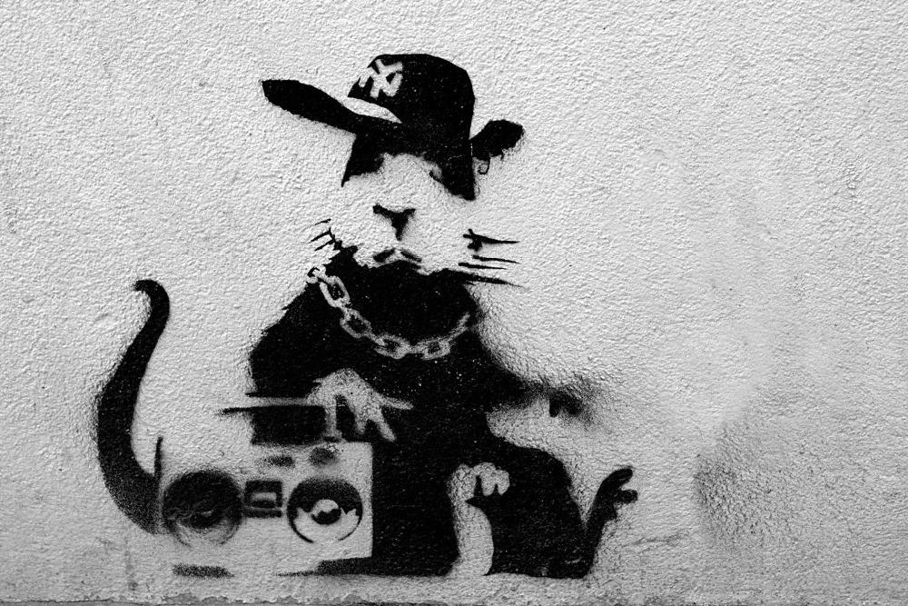 Free shipping Rap Rat, Graffiti, Banksy 24x36in posters printed silk decorative wall painting art wall sticker(China (Mainland))