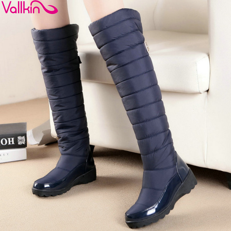 VALLKIN Blue Over The Knee Boots PU leather+Down Round Toe Wedge Low Heel Boots Women Snow Boots Wedding Snow Boots Size 35-43(China (Mainland))