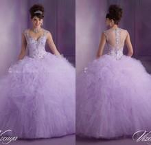 2015 dernière conception lavande robes de Quinceanera robe de bal en Organza 15 anos parti robes perles corsage(China (Mainland))