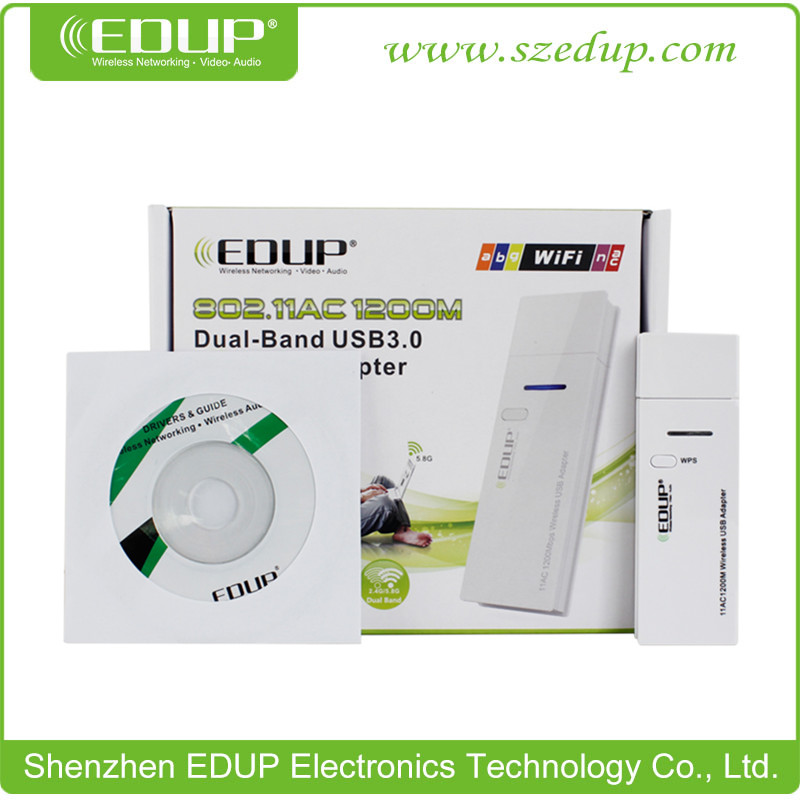 EDUP EP-AC1601 1200Mbps 2.4GHz/5.8GHz Dual-Band Wireless USB Adapter/Network Card with USB3.0 Interface and Chipset MTK7612U(China (Mainland))