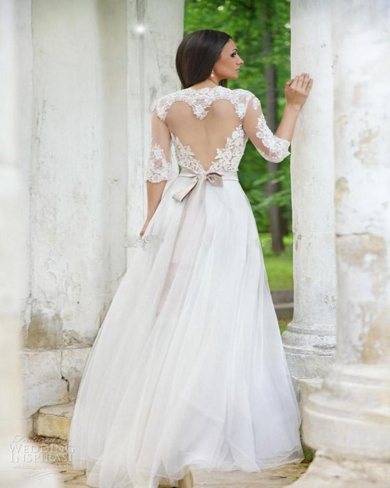 See Through Свадебное Платье Garden Party Вернуться Sheer Половина Рукава Ленты Ленты Женщины Длинное Платье Vestidos Де Noiva Заказ Mariage