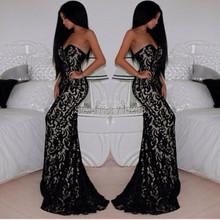 2014 Elegant Black Lace Evening Dresses Sexy Glamorous Mermaid Strapless Sleeveless Long Formal Gown Custom 2 4 6 8 10 12 14 16(China (Mainland))