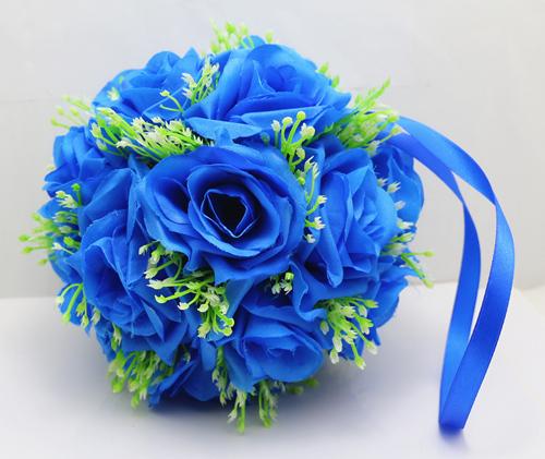 NEW Silk Flower Kissing Ball Gypsophila Rose flower ball with Gypsophila 6.4 inch/8 inch /10 inch/ 12 inch Blue colour(China (Mainland))