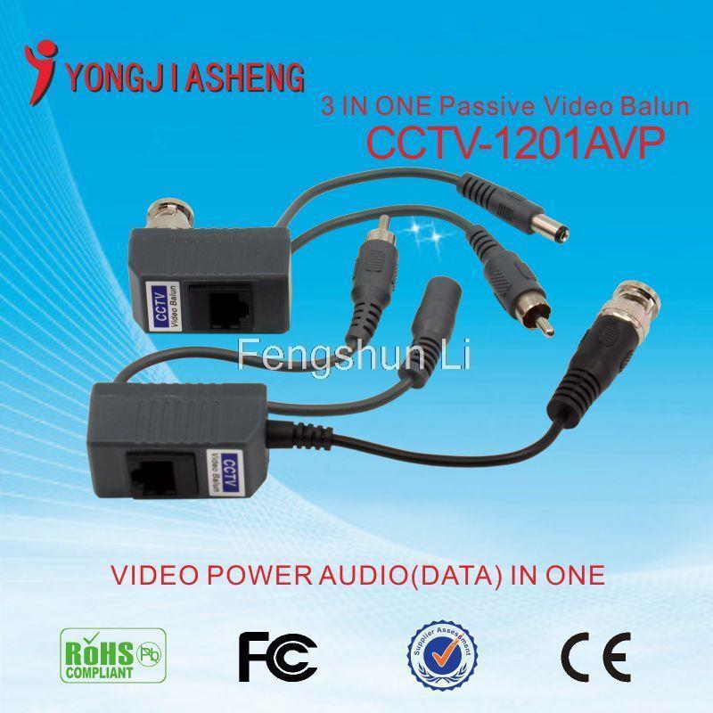 CCTV Camera Passive Audio Video Balun Transceiver BNC UTP RJ45 Video Balun Audio Video Power over CAT5 Cable Transmitter 6PCS(China (Mainland))