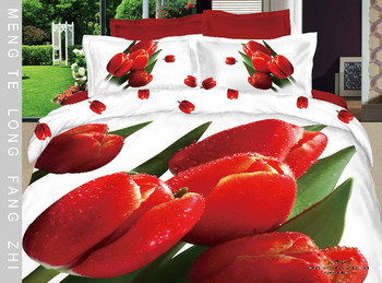 Hot Beautiful 100% Cotton 4pc Doona Duvet QUILT Cover Set bedding set Full / Queen/ King size 4pcs flower white red tulip
