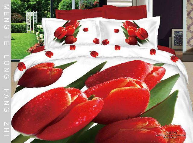 Hot Beautiful 100% Cotton 4pc Doona Duvet QUILT Cover Set bedding set Full / Queen/ King size 4pcs flower white red tulip