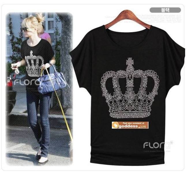 T-shirt B-1012, fashion sparkling diamond queen style loose round neck T shirt women 2013 new dress Tops & Tees(China (Mainland))