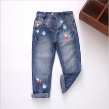 2016 New arrival spring summer autumn casual denim jeans girls embroidery-flower animals jeans kids high quality long pants