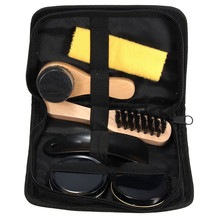 Best Promotion 6 Pieces Professional Shoe Care Tool Black & Neutral Shoe Shine Polish Cleaning Smooth Wooden Brushes Set(China (Mainland))