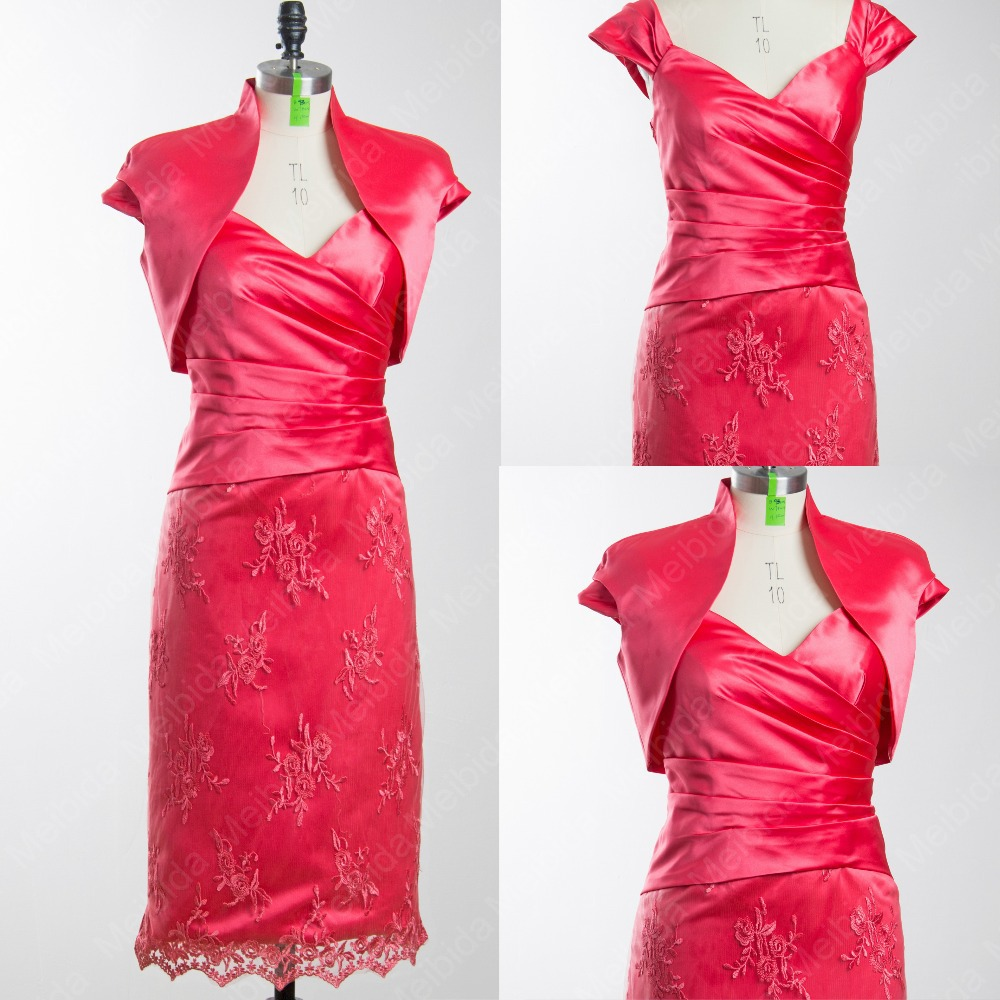 Foto real mother of the bride dress with jacket short for Mother daughter dresses for weddings